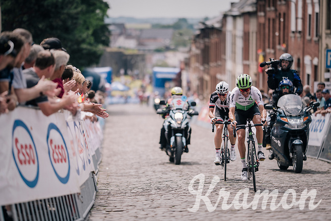 Serge Pauwels (BEL/Dimension Data) & Edward Theuns (BEL/Sunweb) trying to bridge over to the breakaway group (over the cobbles)<br /> <br /> Belgian National Championships 2018 (road) in Binche (224km)<br /> ©kramon