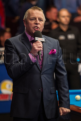 13.12.2012 London, England. Announcer John McDonald ahead of the Mosconi Cup International Pool Championships  between Team Europe and Team America from York Hall.