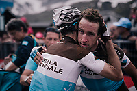 Team AG2R-La Mondiale teammates congratulating one another after finishing the last hard stage of this Giro<br /> <br /> stage 20: Susa - Cervinia (214km)<br /> 101th Giro d'Italia 2018