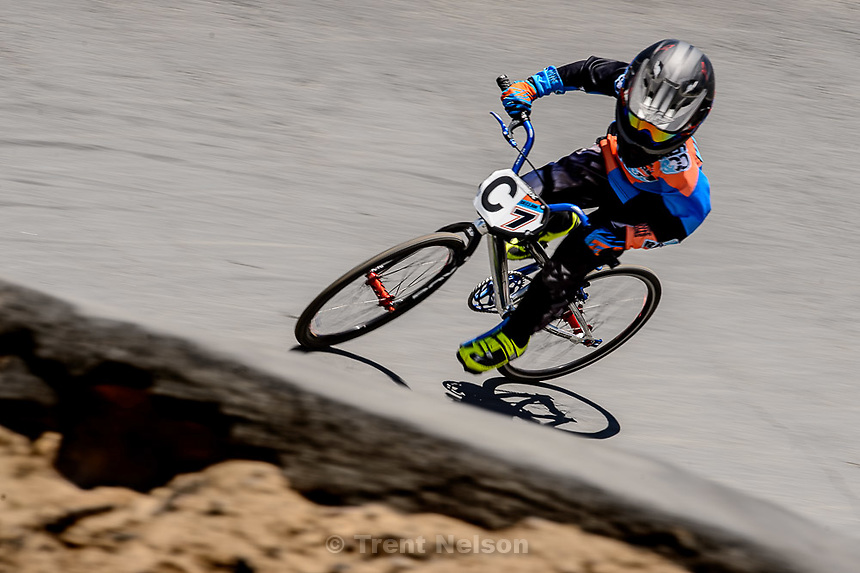 Trent Nelson  |  The Salt Lake Tribune<br /> 7-year-old Declan Hurley races at the U.S. BMX National Series at Rad Canyon BMX in South Jordan, Saturday June 13, 2015.
