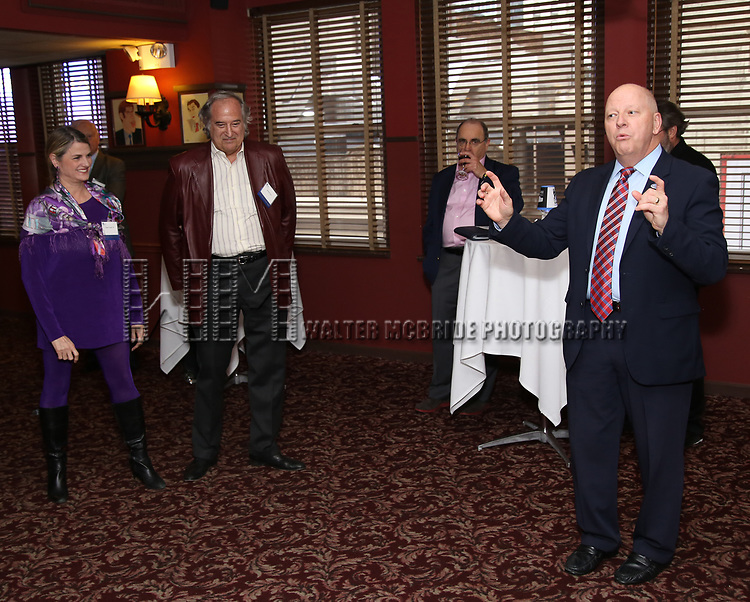 Bonnie Comley, Stewart F. Lane, John Fuedo and John Fuedo attend the UMass Lowel Cockail Party for 'Sunset Boulevard' hosted by Chancellor Jacquie Moloney, Bonnie Comley and Stewart F. Lane at Sardi's on April 5, 2017 in New York City