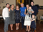 Sandra Callaghan celebrating her 60th birthday in The Thatch with her husband Brendan, daughters Sandra and Catherine with partners Shane and Daniel and grandchildren Michael and Lucy. Photo:Colin Bell/pressphotos.ie