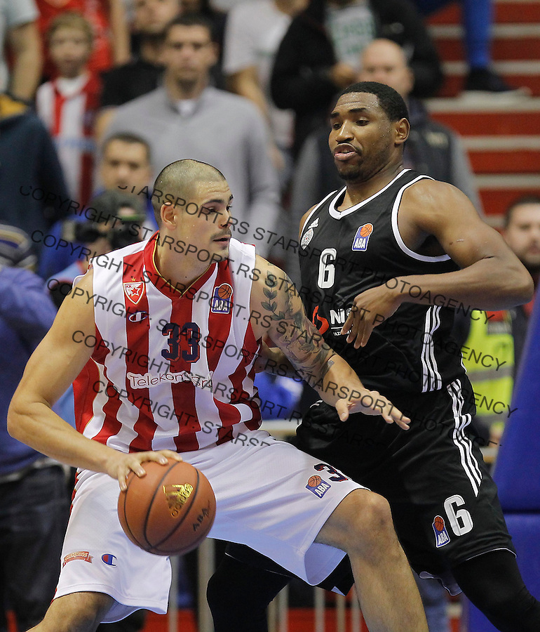 Kosarka ABA League season 2015-2016<br /> Crvena Zvezda v Partizan<br /> Maik Zirbes and Kevin Jones (R)<br /> Beograd, 03.11.2015.<br /> foto: Srdjan Stevanovic/Starsportphoto&copy;