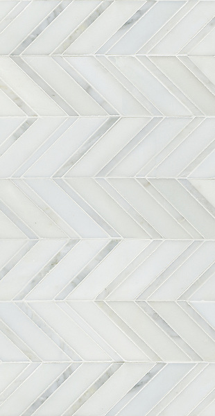Raj shown in honed Paperwhite and polished Calacatta Radiance is part of New Ravenna's Studio Line of ready to ship mosaics.