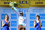 Pierre Latour (FRA) AG2R La Mondiale retains the White Jersey at the end of Stage 14 of the 2018 Tour de France running 188km from Saint-Paul-Trois-Chateaux to Mende, France. 21st July 2018. <br /> Picture: ASO/Pauline Ballet | Cyclefile<br /> All photos usage must carry mandatory copyright credit (&copy; Cyclefile | ASO/Pauline Ballet)