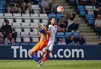 Chris Willock (Arsenal) of England U19 & Owen Wijndal (AK Alkmaar) of Holland in action during the International match between England U19 and Netherlands U19 at New Bucks Head, Telford, England on 1 September 2016. Photo by Andy Rowland.