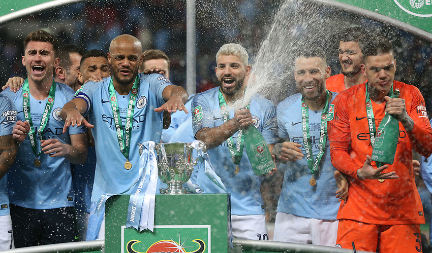 Winners Manchester City with the trophy<br /> <br /> Photographer Rob Newell/CameraSport<br /> <br /> The Carabao Cup Final - Chelsea v Manchester City - Sunday 24th February 2019 - Wembley Stadium - London<br />  <br /> World Copyright © 2018 CameraSport. All rights reserved. 43 Linden Ave. Countesthorpe. Leicester. England. LE8 5PG - Tel: +44 (0) 116 277 4147 - admin@camerasport.com - www.camerasport.com