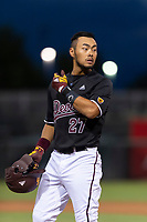 ASU Sun Devils catcher Lyle Lin (27) during an Instructional League game against the Texas Rangers at Surprise Stadium on October 6, 2018 in Surprise, Arizona. (Zachary Lucy/Four Seam Images)