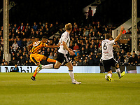Fraizer Campbell of Hull City has a shot blocked during the Sky Bet Championship match between Fulham and Hull City at Craven Cottage, London, England on 13 September 2017. Photo by Carlton Myrie.