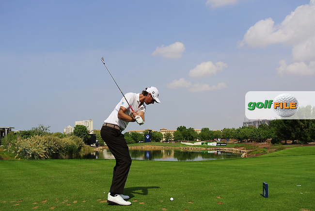 Nicolas Colsaerts (BEL) tees off the par3 6th tee during Thursday's Round 1 of the season ending DP World Tour Championship 2012 held on the Earth Course at the Jumeirah Golf Estates,Dubai. 22nd November 2012 (Photo Eoin Clarke/www.golffile.ie)