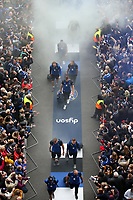 Bath Rugby make their way through the tunnel of noise on arrival at Twickenham Stadium. Gallagher Premiership match, The Clash, between Bath Rugby and Bristol Rugby on April 6, 2019 at Twickenham Stadium in London, England. Photo by: Andrew Fosker for Onside Images