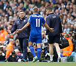 Marc Albrighton of Leicester City complains to Craig Shakespeare manager of Leicester City during the English Premier League match at the Etihad Stadium, Manchester. Picture date: May 13th 2017. Pic credit should read: Simon Bellis/Sportimage