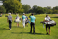 Daniel Berger (USA), Tommy Fleetwood (ENG), Rafa Cabrera Bello (ESP) during the first round of the WGC Bridgestone Invitational, Firestone country club, Akron, Ohio, USA. 03/08/2017.<br /> Picture Ken Murray / Golffile.ie<br /> <br /> All photo usage must carry mandatory copyright credit (&copy; Golffile | Ken Murray)