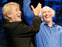 Quebec City, June 27 2007. Pauline Marois and Quebec singer Gilles Vigneault wave to the crowd as Marois is crowned the new PQ leader during a rally at the Théatre du Capitole in Quebec City June 27, 2007.