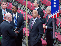 United States Secretary of Homeland Security Jeh Johnson tours the Quicken Loans Arena to observe the build-out prior to the 2016 Republican National Convention in Cleveland, Ohio on Friday, July 15, 2016. Photo Credit: Ron Sachs/CNP/AdMedia