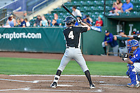 Taylor Snyder (4) of the Grand Junction Rockies at bat against the Ogden Raptors in Pioneer League action at Lindquist Field on August 26, 2016 in Ogden, Utah. The Raptors defeated the Rockies 6-5. (Stephen Smith/Four Seam Images)