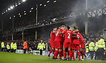 Liverpool players celebrate with Sadio Mané of Liverpool  during the English Premier League match at Goodison Park, Liverpool. Picture date: December 19th, 2016. Photo credit should read: Lynne Cameron/Sportimage
