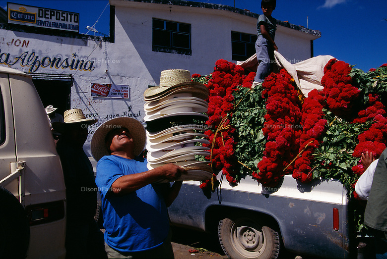 A hat seller walks through the marketplace among trucks heavily loaded with Terciopelo flowers. Atlixco is the flower capital for exporting roses and gladiolas in the state of Puebla as well as the chief production area for flowers used during Day of the Dead. They are trucked throughout Mexico to decorate altars and graves.