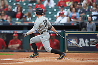 Ethan Paul (10) of the Vanderbilt Commodores follows through on his swing against the Louisiana Ragin' Cajuns in game five of the 2018 Shriners Hospitals for Children College Classic at Minute Maid Park on March 3, 2018 in Houston, Texas.  The Ragin' Cajuns defeated the Commodores 3-0.  (Brian Westerholt/Four Seam Images)