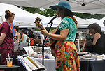Volunteer musician, Marji Zintz, performing at the Saugerties Farmer's Market on Main Street in the Village of Saugerties, NY, on Saturday, June 10, 2017. Photo by Jim Peppler. Copyright/Jim Peppler-2017.