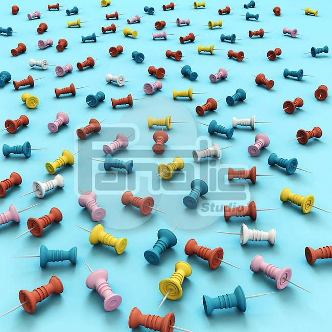 Illustration of various multi colored thumb tacks over blue background