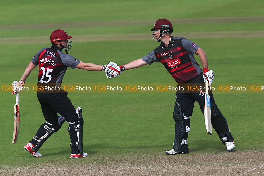 James Hildreth of Somerset congratulates Jim Allenby (R) on his half-century during Somerset vs Essex Eagles, Royal London One-Day Cup Cricket at The Cooper Associates County Ground on 14th May 2017
