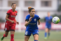 Seattle, WA - Saturday, May 14, 2016: Seattle Reign FC defender Carson Pickett (16) tracks down the ball during the second half. The Portland Thorns FC and the Seattle Reign FC played to a 1-1 tie during a regular season National Women's Soccer League (NWSL) match at Memorial Stadium.