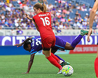 Orlando, FL - Sunday June 26, 2016: Jasmyne Spencer, Emily Sonnett  during a regular season National Women's Soccer League (NWSL) match between the Orlando Pride and the Portland Thorns FC at Camping World Stadium.
