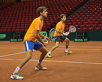 11-sept.-2013,Netherlands, Groningen,  Martini Plaza, Tennis, DavisCup Netherlands-Austria, Dutch team practice , Robin Haase and Jean-Julien Rojer (NED)Bakker<br /> Photo: Henk Koster