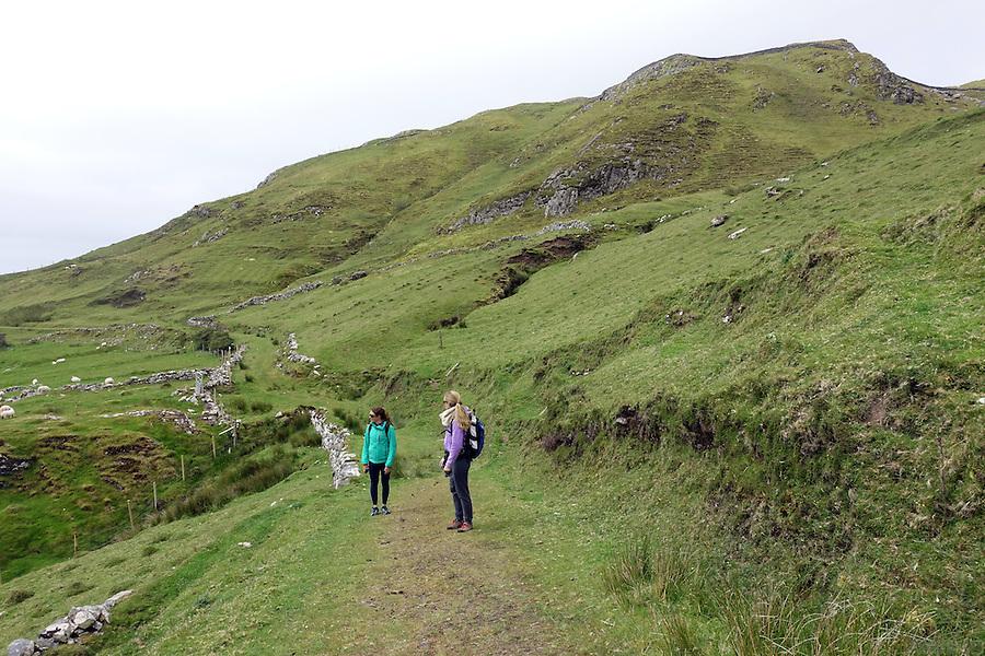 Hiking on Clare Island, Clew Bay, County Mayo, Ireland.
