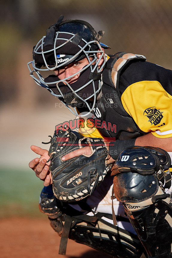 Tomas Frick during the WWBA World Championship at the Roger Dean Complex on October 20, 2018 in Jupiter, Florida.  Tomas Frick is a catcher from Greenville, South Carolina who attends J.L. Mann High School and is comitted to North Carolina.  (Mike Janes/Four Seam Images)
