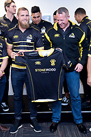 Lions captain Brad Shields (L) with coach Chris Gibbes during the Wellington Lions season launch at 89 Courtenay Place in Wellington, New Zealand on Friday, 11 August 2017. Photo: Marty Melville / lintottphoto.co.nz