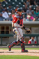 Gwinnett Braves catcher Blake Lalli (15) on defense against the Charlotte Knights at BB&T BallPark on May 22, 2016 in Charlotte, North Carolina.  The Knights defeated the Braves 9-8 in 11 innings.  (Brian Westerholt/Four Seam Images)