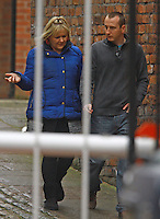 NON EXCLUSIVE PICTURE: MATRIXPICTURES.CO.UK.PLEASE CREDIT ALL USES..WORLD RIGHTS..The cast of popular British television drama series Coronation Street are pictured outside the soaps' Granada Studios in Manchester looking very solemn at hearing news of the death of English actor Bill Tarmey today...Tarmey played long-running Coronation Street character Jack Duckworth, for which he garnered admiration from peers and fans alike...His family announced today that he had passed in Tenerife this morning...He is survived by his wife Alma, son Carl and daughter Sara...NOVEMBER 9th 2012..REF: IRF 125178
