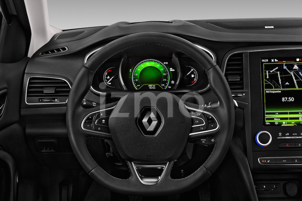 Car pictures of steering wheel view of a 2016 Renault Megane-Grandtour Bose-Edition 5 Door wagon Steering Wheel