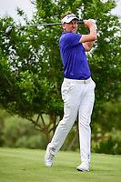 Ian Poulter (GBR) watches his tee shot on 18 during round 2 of the Valero Texas Open, AT&amp;T Oaks Course, TPC San Antonio, San Antonio, Texas, USA. 4/21/2017.<br /> Picture: Golffile | Ken Murray<br /> <br /> <br /> All photo usage must carry mandatory copyright credit (&copy; Golffile | Ken Murray)