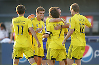 Crew celebrate Schelotto's goal..Columbus Crew defeated Kansas City Wizards 2-0 at Community America Ballpark, Kansas  City, Kansas.