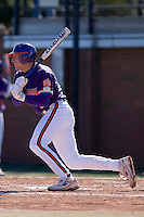 Stan Widman (6) of the Clemson Tigers follows through on his swing versus the Wake Forest Demon Deacons during the first game of a double header at Gene Hooks Stadium in Winston-Salem, NC, Sunday, March 9, 2008.