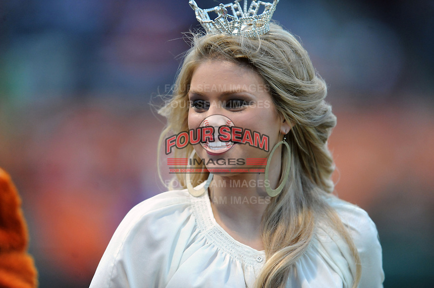 Miss South Carolina 2012 Ali Rogers before a game between the South Carolina Gamecocks and the Clemson Tigers at Doug Kingsmore Stadium on March 1, 2013 in Clemson, South Carolina. The Gamecocks won 6-0.(Tony Farlow/Four Seam Images).