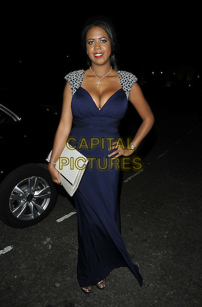 Danni Park-Dempsey.The TOWIE Series 6 wrap party, 5 Cavendish Square, Cavendish Square, London, England..August 22nd, 2012.full length blue dress silver shoulders embellished jewel encrusted white clutch bag hand on hip.CAP/CAN.©Can Nguyen/Capital Pictures.