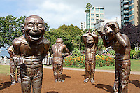 Bronze A-maze-ing Laughter sculptures by Yue Minjun, Vancouver, British Columbia, Canada This project was part of the Vancouver, Biennale, a non-profit event that promotes public art.