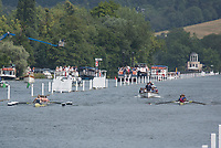 """Henley on Thames, United Kingdom, 4th July 2018, Wednesday, View, Heat og the Remenham Challenge Cup left """"Yale University, USA"""", and right, Oxford Brookes,  first day of the annual,  """"Henley Royal Regatta"""", Henley Reach, River Thames, Thames Valley, England, © Peter SPURRIER,"""