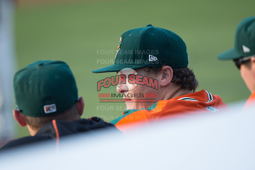Greensboro Grasshoppers pitcher Tyler Kolek (30) watches the action from the dugout during the game against the Kannapolis Intimidators at CMC-Northeast Stadium on June 11, 2015 in Kannapolis, North Carolina.  The Intimidators defeated the Grasshoppers 7-6.  (Brian Westerholt/Four Seam Images)
