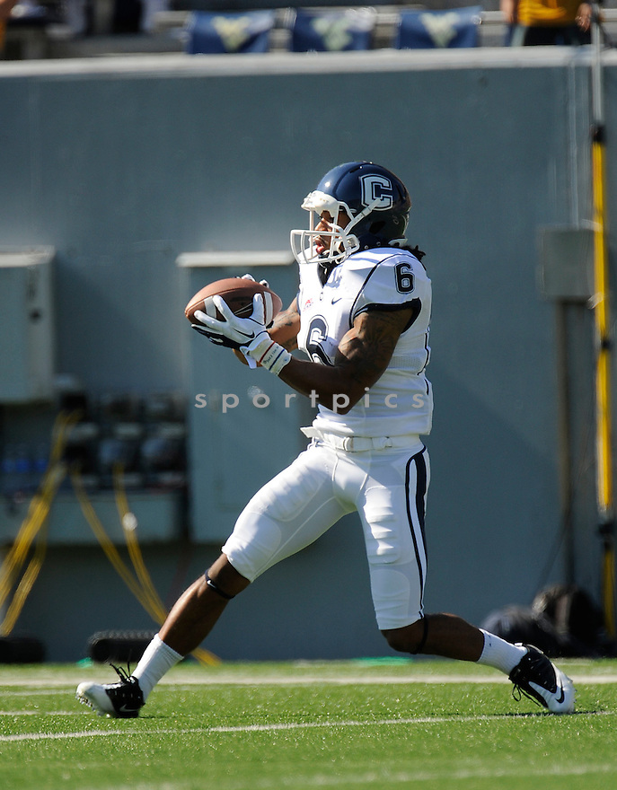 KASHIF MOORE, of the Connecticut Huskies, in action during UConn's game against The West Virginia Mountaineers on October 8, 2011 at Milan Puskar Stadium in Morgantown, WV. West Virginia beat UConn 43-16.