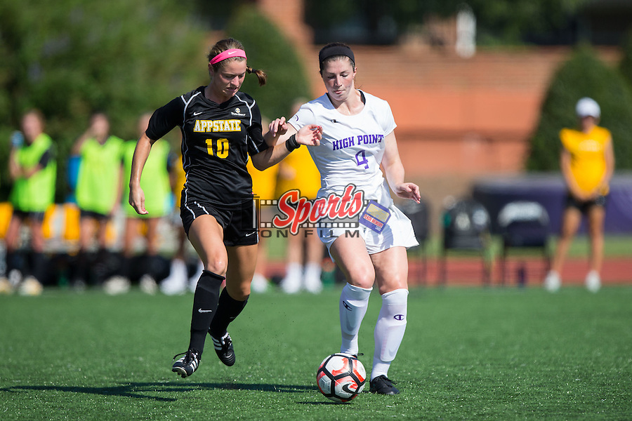 Jane Cline (10) of the Appalachian State Mountaineers battles for the ball with Taylor Romano (4) of the High Point Panthers during first half action at Vert Track, Soccer & Lacrosse Stadium on August 26, 2016 in High Point, North Carolina.  The Panthers defeated the Mountaineers 2-0.  (Brian Westerholt/Sports On Film)