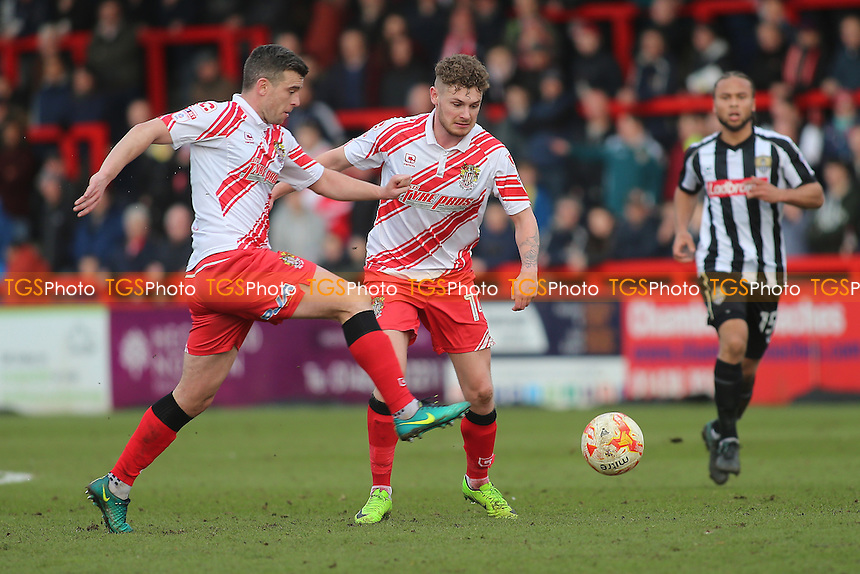 Steven Schumacher and Ben Kennedy of Stevenage during Stevenage vs Notts County, Sky Bet EFL League 2 Football at the Lamex Stadium on 4th March 2017