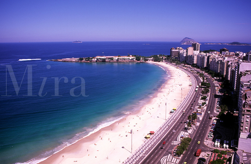 Life in Brazil world famous Copacabana walkway with Sugarloaf Mt Rio de Janeiro holiday