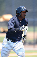 GCL Yankees 1 outfielder Alexander Palma (36) during the first game of a doubleheader against the GCL Braves on July 1, 2014 at the Yankees Minor League Complex in Tampa, Florida.  GCL Yankees 1 defeated the GCL Braves 7-1.  (Mike Janes/Four Seam Images)