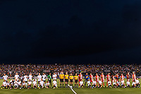 The Portland Thorns and Western New York Flash line up for pre-game introductions. The Portland Thorns defeated the Western New York Flash 2-0 during the National Women's Soccer League (NWSL) finals at Sahlen's Stadium in Rochester, NY, on August 31, 2013.