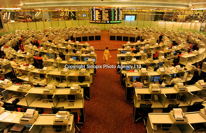 The floor of the Hong Kong stock exchange,  also know as the Heng Seng index, in Hong Kong..